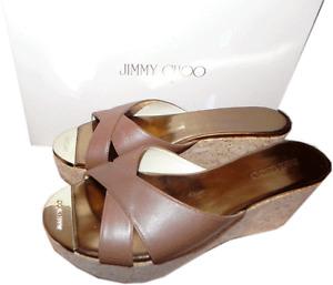 Jimmy Choo Prima Brown  Leather Cork Wedge Sandals Gold Toe 39 - Slides Mules