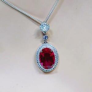 Beautiful  Moissanite  & Ruby Gemstone Necklace