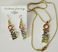 A Set of Eastern Star Gold Tone Red Royal and Green OES Necklace and Earrings
