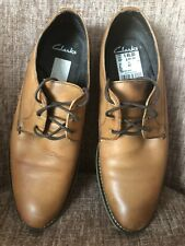 CLARKS Mens Tan Leather Lace-up Shoes SIZE 8 Rrp £45