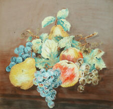Antique still life fruits oil painting signed