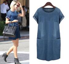 Plus size ! UK Stock Women Denim Jeans Shirt Pocket Lady loose Comfy Dress new A