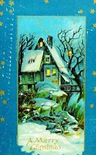 Course 1910 Lovely Fantasy Dark Christmas Night House Snow Vintage Postcard P36