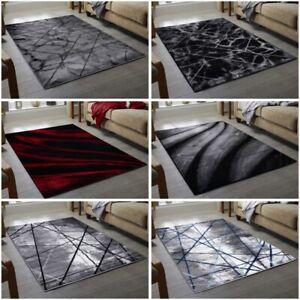 Modern Grey White Black Area Rug Bedroom Living Room Geometric Trellis Carpet