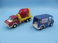 Vintage TootsieToy Two Pieces Red / Yellow Cement Truck & Blue Panel Swat Van