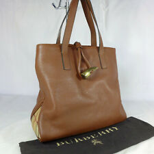 Authentic Rare Vintage Burberry Brown Leather Medium Tote Handbag Purse Ex Con