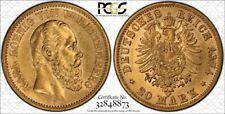 Germany Wurttemberg Gold 20 Mark 1874 F PCGS AU55