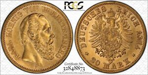 Germany Wurttemberg Gold 20 Mark 1874 F PCGS AU55