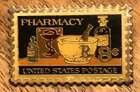 Barr Laboratories RX Pharmacy United States Postage Stamp 8 Cents Lapel Hat Pin
