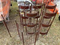 Set of 7 Bronze Produce Dump Bins Orchard Wire Metal Floor Display Fixtures