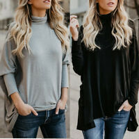 Women Long Sleeve Turtleneck Neck Tops Ladies Casual Solid Loose Pullover Blouse
