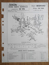 ZENITH CARBURETTER BEDFORD VAN 12 h.p. 1956 / 57 PETROL LEAFLET TECHNICAL PARTS