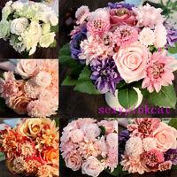 10 Head Artificial Fake Silk Rose Wedding Bridal Flower Bouquet Home Party Decor