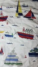 Pottery Barn Kids Sailboats Ocean Voyage Boats Twin Fitted Sheet