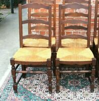 Set of 2 Country French Antique Oak Louis XIV Ladder Back Rush Seat Chairs