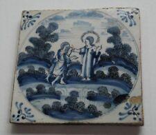 Antique circa 1690 Blue & White Dutch Delft Biblical Religious Scene Jesus Tile