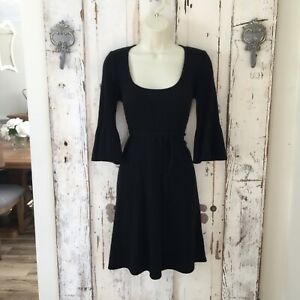 Robert Rodriguez Size Medium Woman's Black Cashmere Bell Sleeve Belted Dress