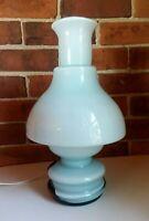 "Vtg Mid Century Mushroom Table Lamp Baby Blue & Black Glass 15"" Tall Unique MCM"