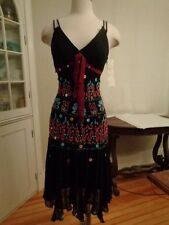SUE WONG Nocturne stunning beaded cocktail dress 100% silk sequins women's 8 NWT