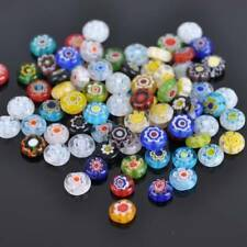 50pcs 8mm Oblate Mixed Millefiori Flower Glass Loose Craft Beads