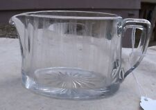 Vintage Heisey Clear Glass Creamer,etched stripes design,oval,marked-kitchenware