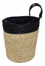 Caterina Bertini Woven Straw Drawstring Liner Italian Bucket Bag Black/Natural