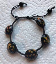 Vintage Black Cord Art Glass Beads Bracelet Jewelry Po-22