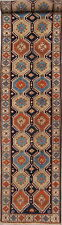 Geometric Yalameh Antique Runner Wool Rug Oriental Handmade 3x13 Carpet