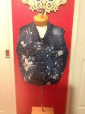 Elite Jeans Studded Multicolor Blue Vest With Pockets In 1X (See Measurements)