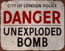 Vintage Retro peligro bomba sin explotar Londres AUTO ADHESIVO VINILO STICKER