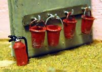4 Fire Buckets Wall frame Extinguisher F232 UNPAINTED OO Scale Langley Model Kit