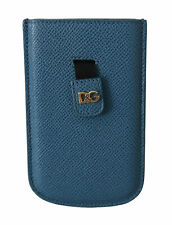 DOLCE & GABBANA Phone Case Cover Blue Leather Pouch DG Logo iPhone 4 RRP $150