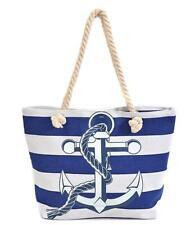 New Anchor Canvas Beach Boating Tote Handbag Navy Blue