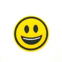 """1 7//8/"""" Yellow Winking Smile Emoji Emboji Smiley Face Embroidery Patch"""