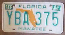 Florida 1984 MANATEE COUNTY License Plate NICE QUALITY # YBA 375