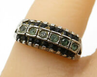 925 Sterling Silver - Vintage Art Deco Cubic Zirconia Band Ring Sz 7 - R3843