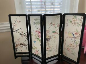 Vintage Asian Table Top MINIATURE Room Divider Screen HAND PAINTED Oriental BIRD