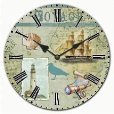 "VOYAGE THEMED CERAMIC WALL CLOCK 9 3/4"" Ship Telescope Compass Gull Lighthouse"