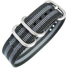 20mm deBeer Mens Black Grey Stripe Ballistic Nylon UTC Military Watch Band Strap