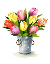 Tulips Floral Watercolor Painting 11 x 14 Art Print by Artist DJR