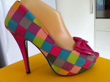 Ladies Checkerboard SHOW STORY Heels AUS Size 8 EU 39 Hot Pink Peeptoe Bow High