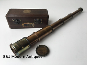 Vintage Brass Telescope Antique 16 Inch Hand Extending Naval Victorian Pirate