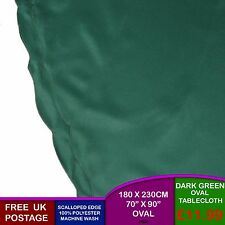 """Plain Oval Dark Green Kitchen Dining Table Tablecloth 180cm 230cm 70"""" 90"""" P95F"""