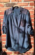 ZOA NEW YORK Blue Gray Equipment Blouse XS Anthropologie