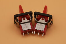 2Pcs Red T80-R Momentary (ON)-OFF-(ON) 3Pin SPDT Mini Paddle Toggle Switch