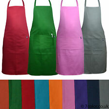 Chefs Aprons plain 100% Cotton Front Pockets Kitchen Butcher cooking BBQ Stuff.