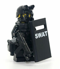 SWAT Riot Shielder Police Officer Minifigure made with real LEGO(R) parts