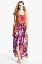 Jessica Simpson Chiffon Maxi Dress, Lace Inset Chiffon Max high and low size 4