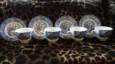 Liberty Blue Cups With Saucers Made In England Set Of 4 Old North Church Pattern