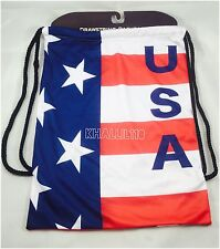 USA Flag Polyester Drawstring Backpack/Sack